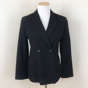 Brooks Brothers Petite Black Pinstripe Blazer Coat